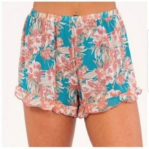 Pants - Blue Tropical Floral Shorts